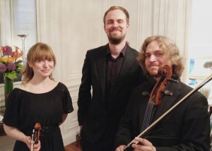 Fenella Humphreys, Sam Armstrong and Anton Kukkonen at Sibelius One's concert at the Finnish Ambassador's Residence in London, 10 June 2015