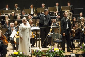 Soloists Johanna Rusanen and Waltteri Torikka with Sakari Oramo and the BBC Symphony Orchestra (photo: © Juha Tanhua)