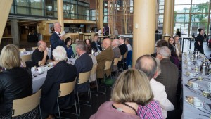 Reception arranged by Lauri Tarasti (standing) and the Sibelius Society of Finland, at the Sibelius Hall (Photo: © Leon Chia)