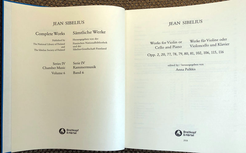 The latest volume in Breitkopf   Härtel s critical edition of Sibelius s  music features all the opus-numbered music for violin (his own instrument)  or cello ... 5233f781ca44b